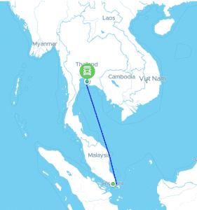 เส้นทางขนส่งทางเรือ ไปสิงคโปร์