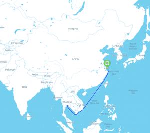 เส้นทางขนส่งทางเรือไปเซี่ยงไฮ้